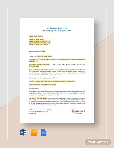 Simple Letter Of Intent Templates