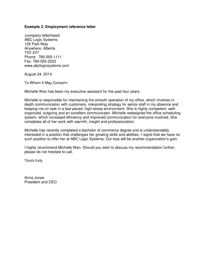 Simple Reference Letter For Employment