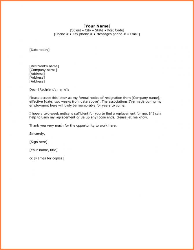 Simple Resignation Letter Sample  Week Notice