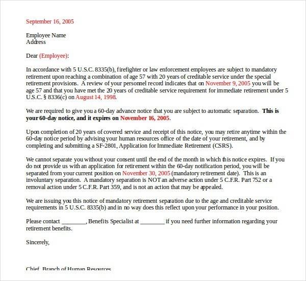 Simple Retirement Letter
