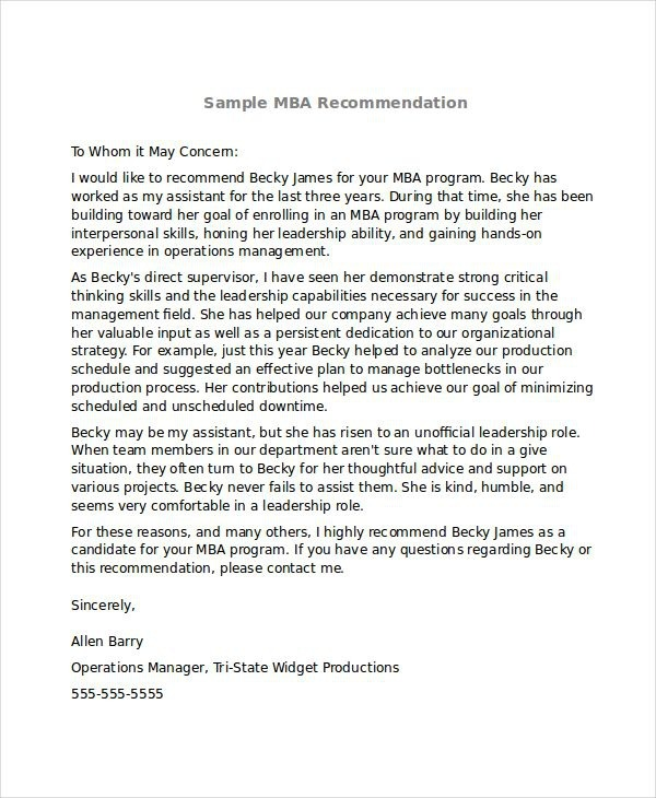 Sle Mba Recommendation Letter  Exles In Word Pdf