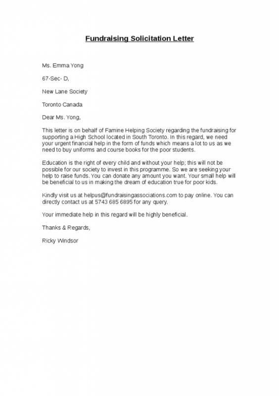 Solicitation Letter Sample In