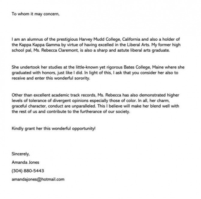 Sorority Recommendation Letter Sample Letters   Examples