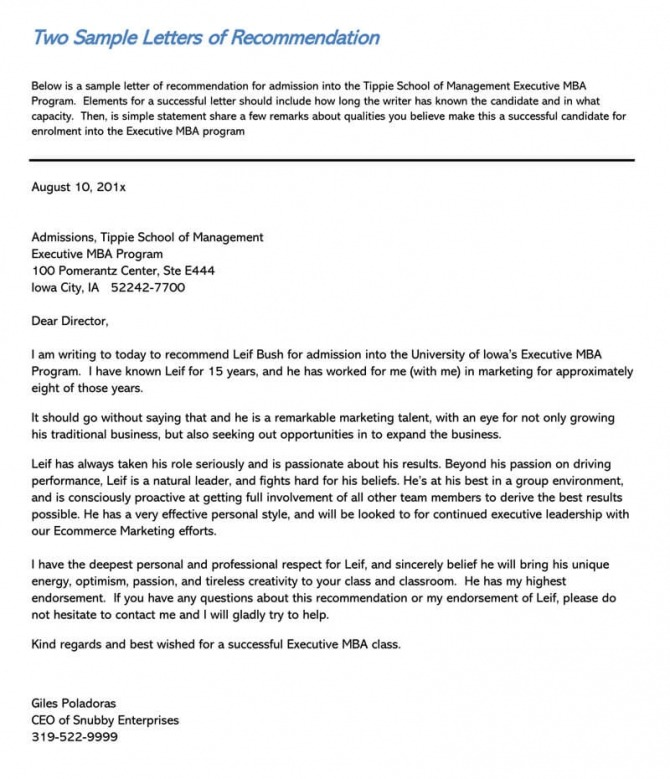 Student Recommendation Letter  Sample Letters And Examples