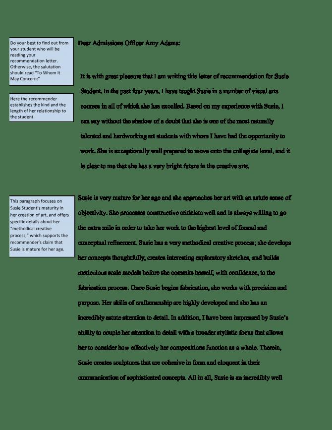 Student Transfer Recommendation Letter