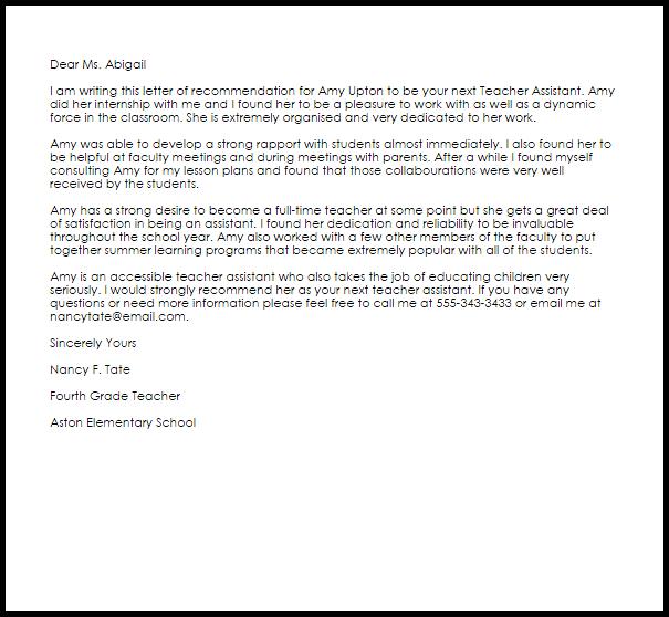 Teacher Assistant Recommendation Letter Example