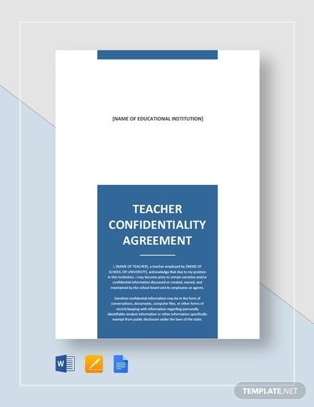 Teacher Confidentiality Agreement Examples