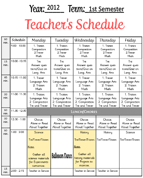 Teachers Schedule Example Hs Planning Pages