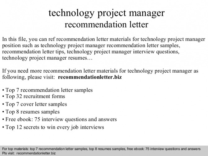 Technology Project Manager Recommendation Letter