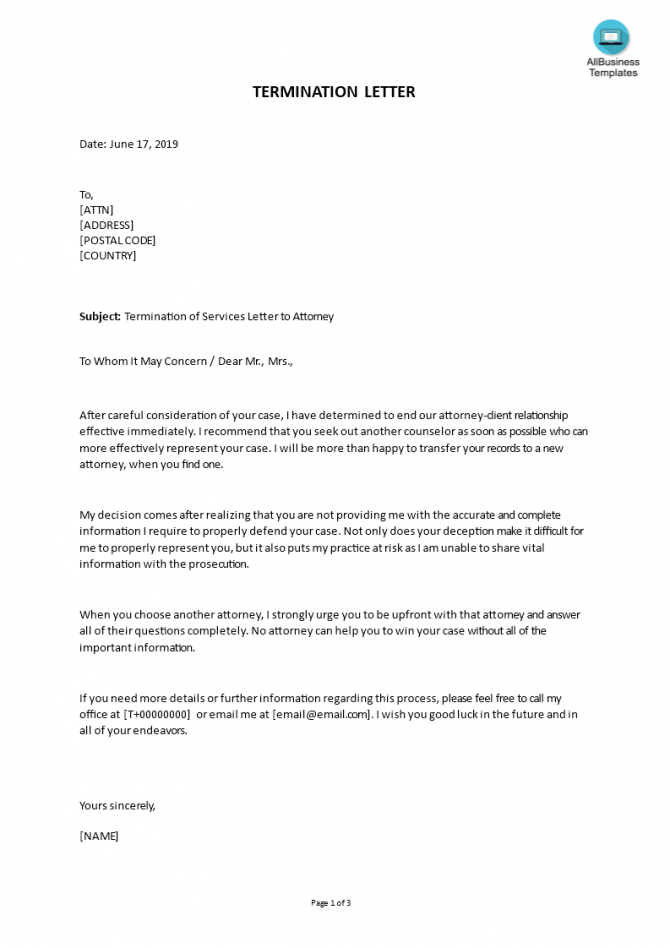 Termination Of Services Letter To Attorney