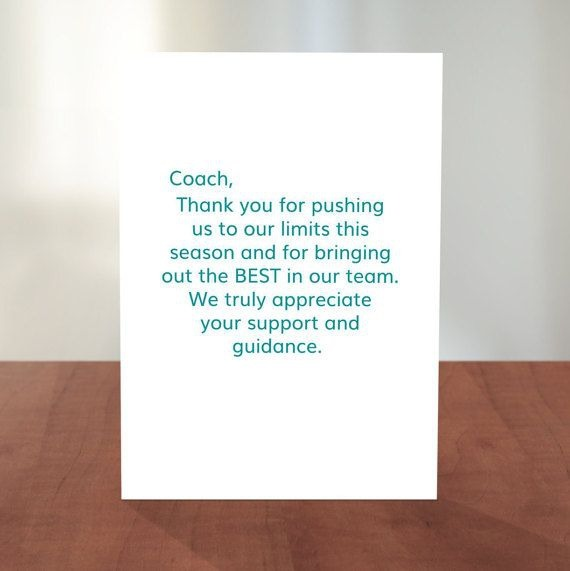 Thank You Card For A Coach Appropriate For Almost Any Team Sport