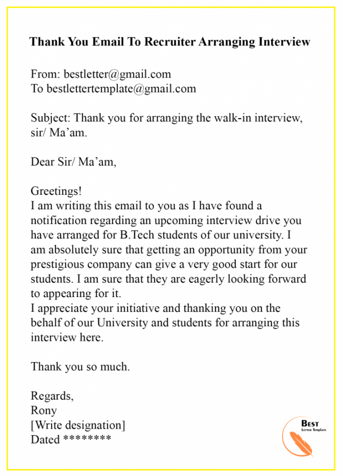 Thank You Email To Recruiter  Sample   Examples