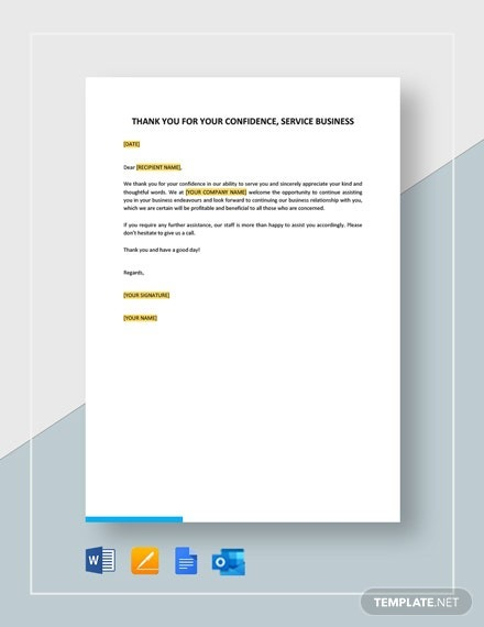 Thank You For Your Confidence Service Business Template