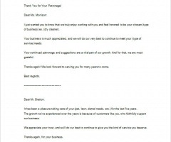 Thank You Letter For Service Provided