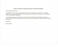 Thank You Letter For Recommendation Letter For Scholarship