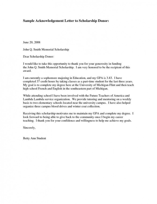 Thank You Letter For Sponsors Scholarship  Images
