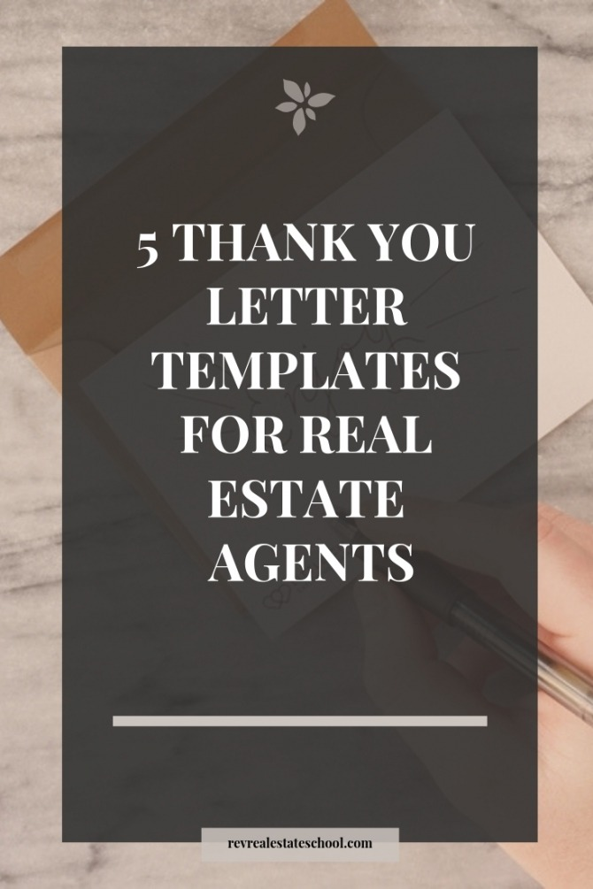 Thank You Letter Samples For Real Estate Agents  Rev Real