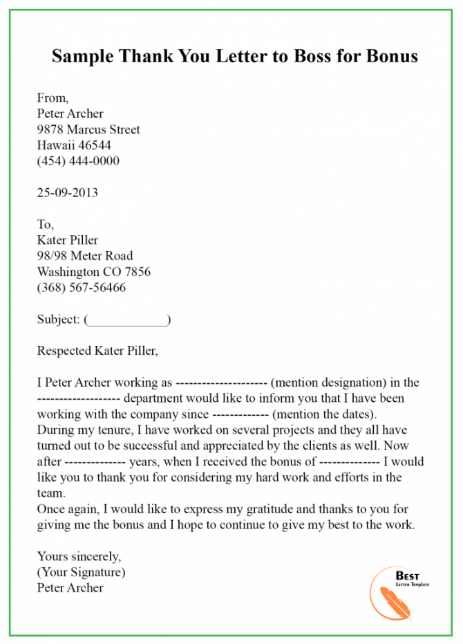 Thank You Letter Template To Bossmanager  Sample   Examples