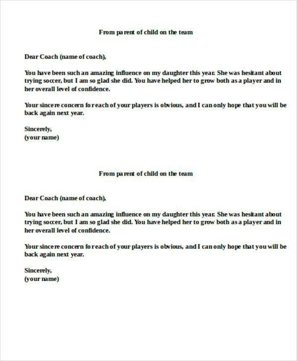 Thank You Letter To Football Coach Inspirational  Sample Coach