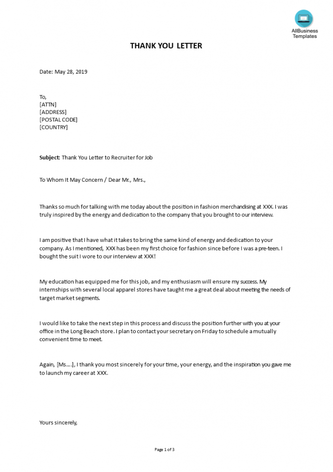 Thank You Letter To Recruiter For Job Sample