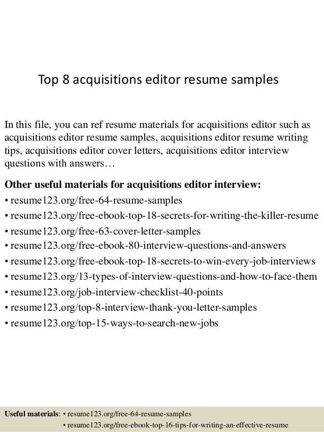 Top  Acquisitions Editor Resume Samples