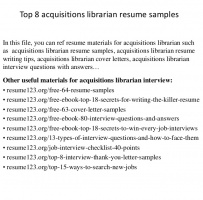 Acquisitions Librarian Cover Letter