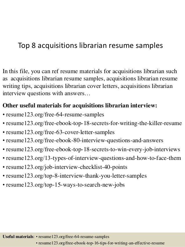 Top  Acquisitions Librarian Resume Samples
