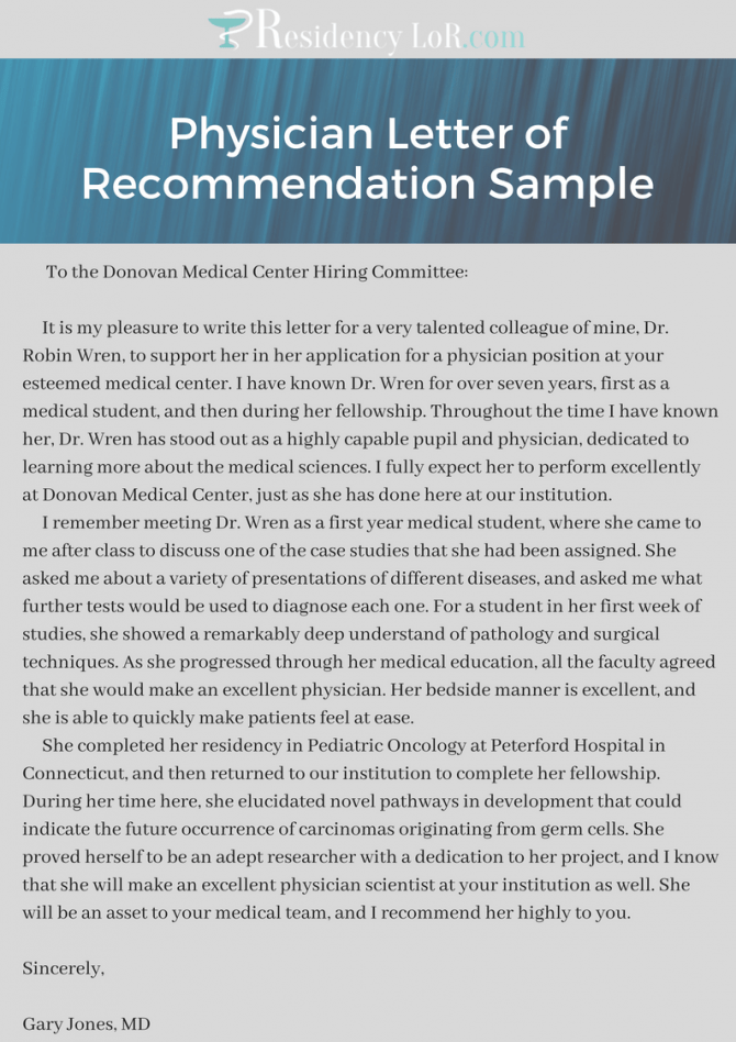Top Quality Physician Letter Of Recommendation Examples