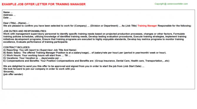 Training Manager Offer Letter