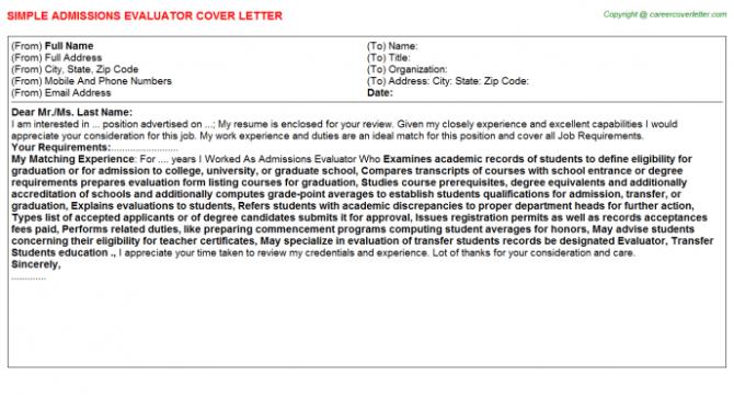 Transcript Evaluator Cover Letters