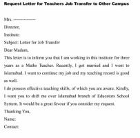 Job Transfer Request Letter For Personal Reason Format
