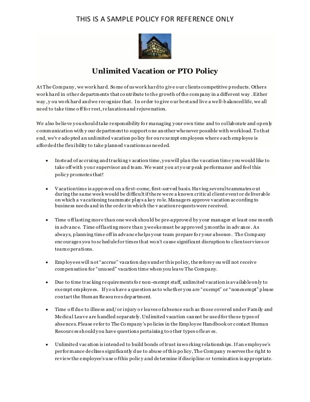 Unlimited Vacation Policy  Pto Policy  Sample For Reference Only