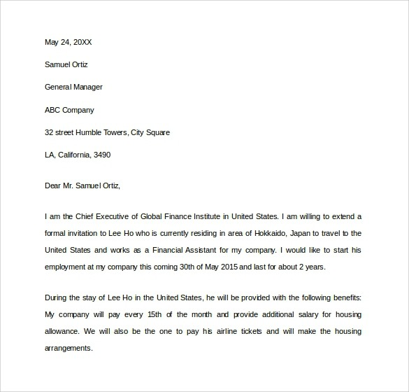 Us Business Visa Invitation Letter Template  Riskia