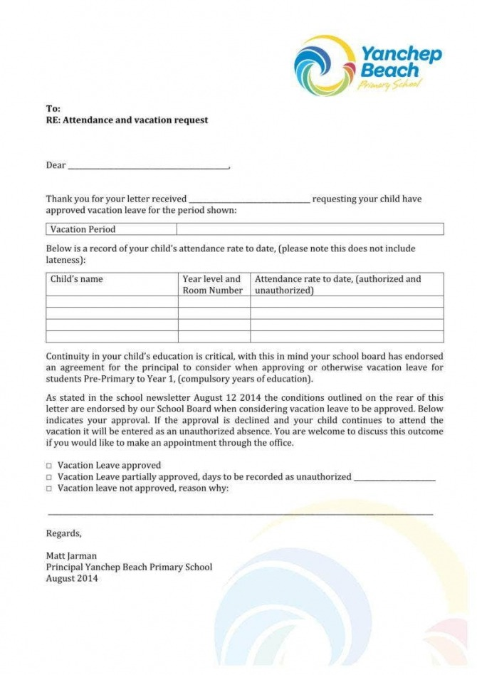 Vacation Leave Letter Templates