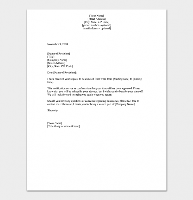 Vacation Leave Request Letter How To Write With Format   Samples
