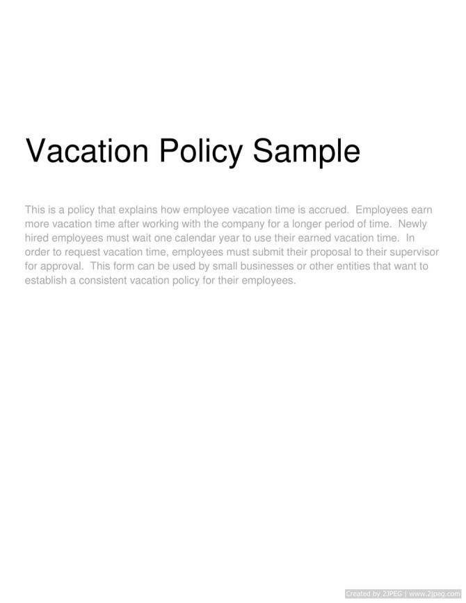 Vacation Policy Sample