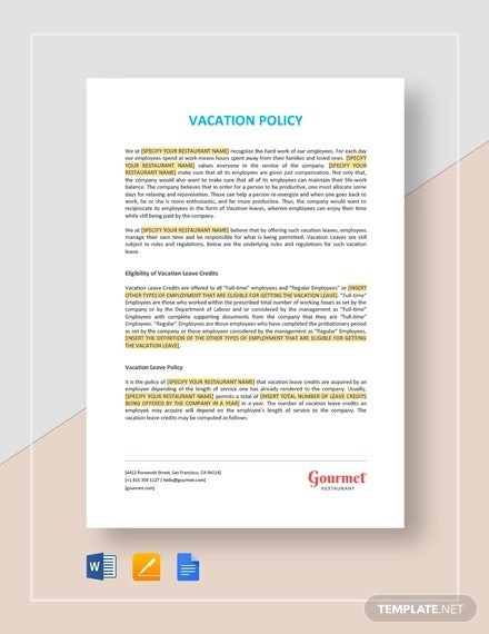 Vacation Policy Templates