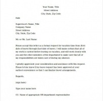 Vacation Leave Request Letter