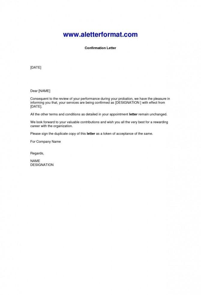 Valid Job Confirmation Letter