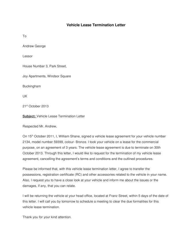 Vehicle Lease Termination Letter