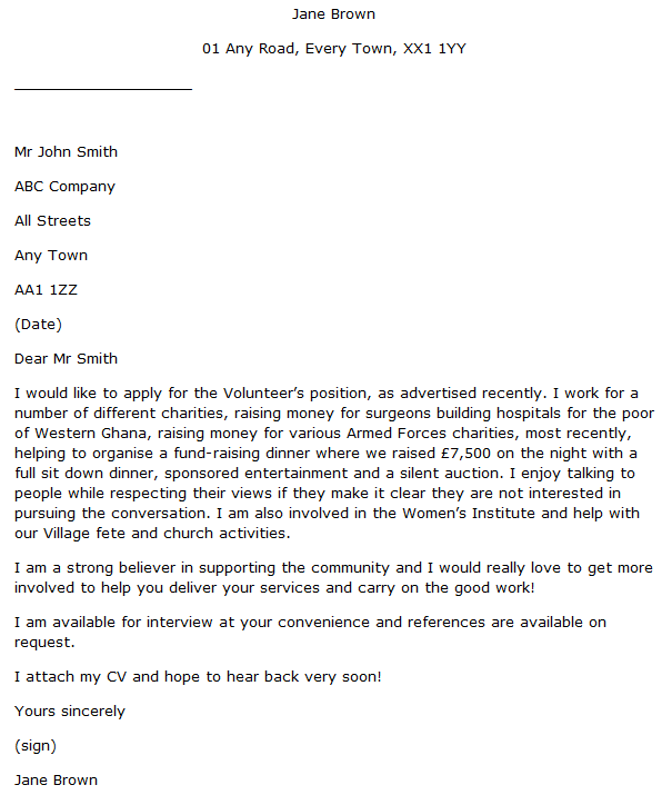 Volunteer Cover Letter Example