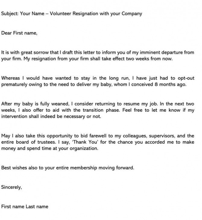 Volunteer Resignation Letter Samples   Writing Tips