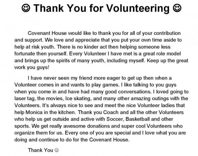 Volunteer Thank You Letter From Youth