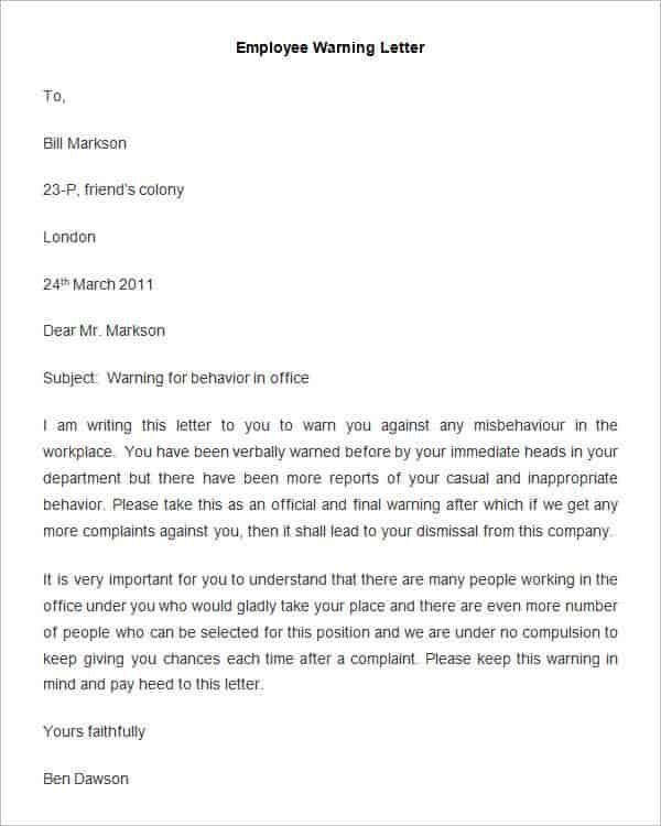 Warning Letter To Employee