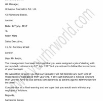 Warning Letter To Employee For Customer Complaint