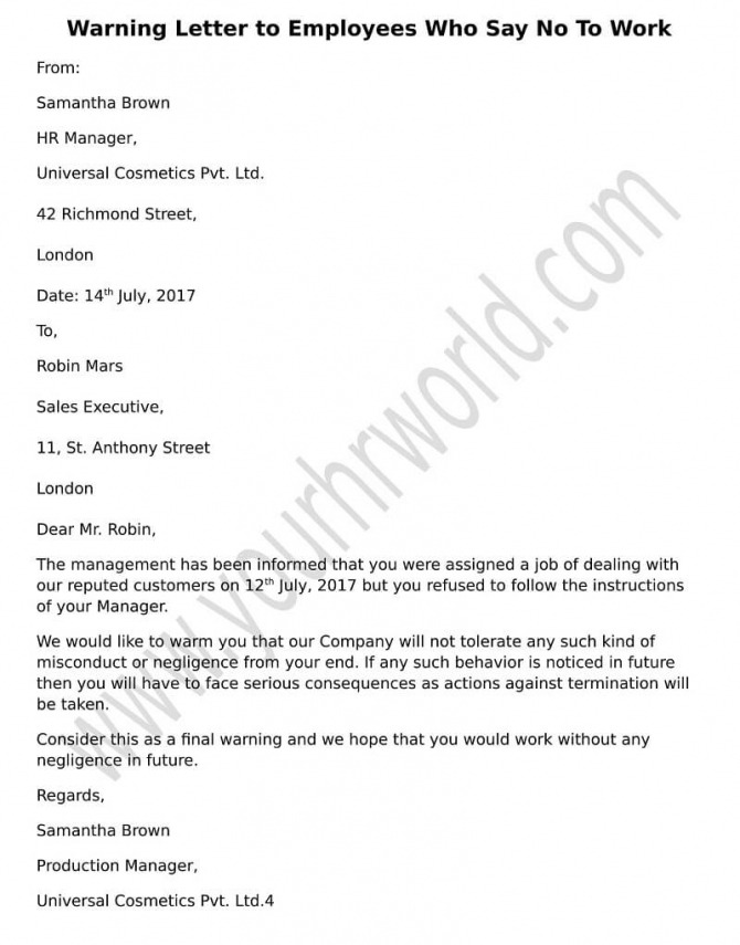 Warning Letter To Employees Refusing To Work