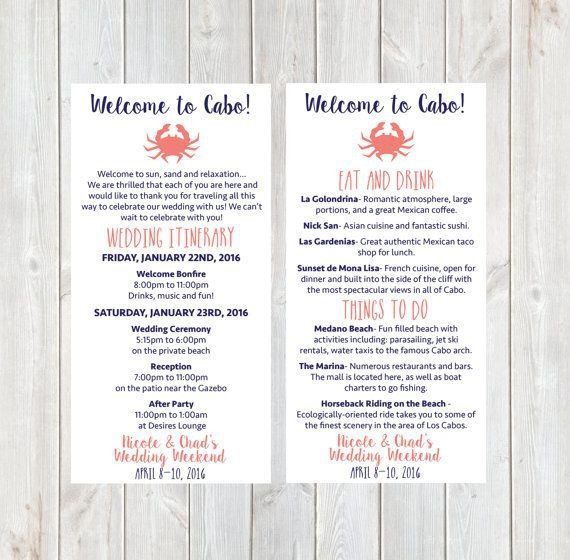 Welcome Letter  Wedding Itinerary  Hotel Welcome Letter  Welcome