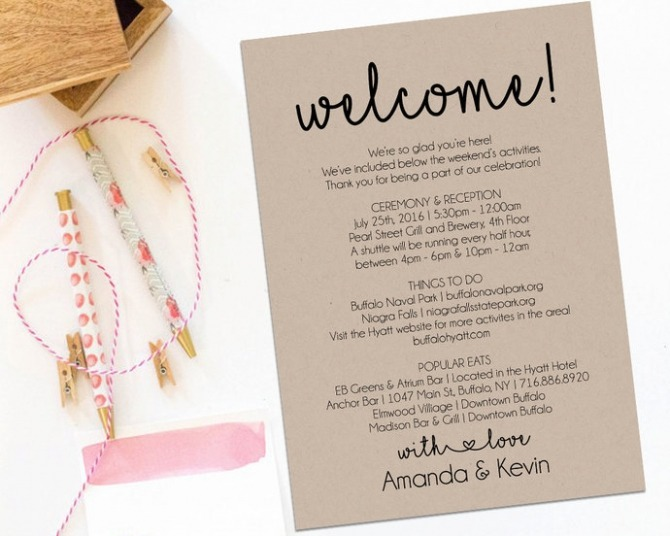 Welcome Letter  Wedding Itinerary  Printable