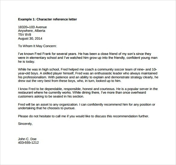 What Is A Professional Reference Letter