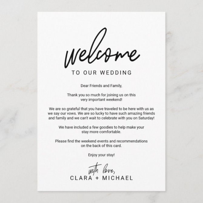 Whimsical Calligraphy Wedding Welcome Letter Program